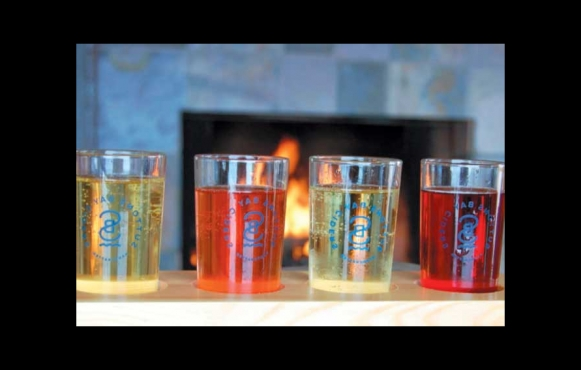 A flight of beer from Sutton Bay Ciders