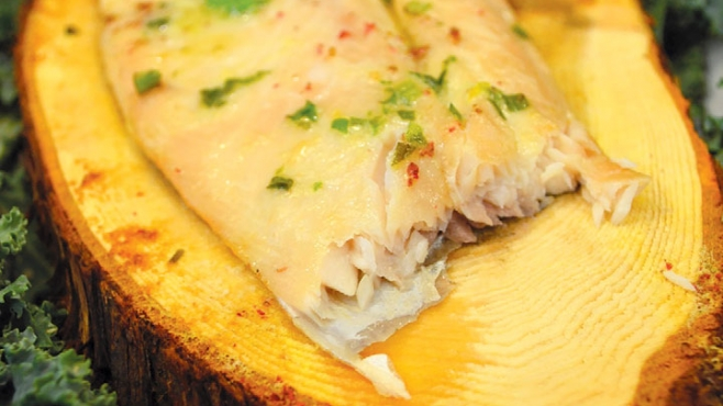 Cedar-Planked Whitefish with Scallon Butter and Pink Peppercorns