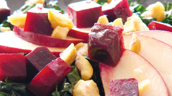 Kale Salad with Apples, Beets and Chestnuts