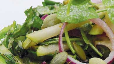 Pea Shoot, Kale, and Pear Salad with Verjus Maple Dressing