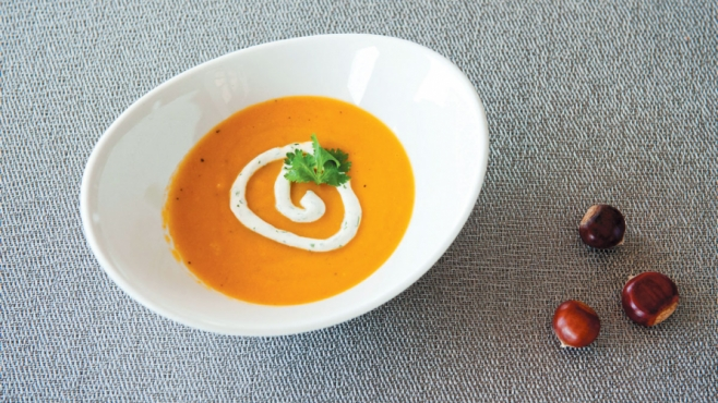 Roasted Carrot and Chestnut Soup